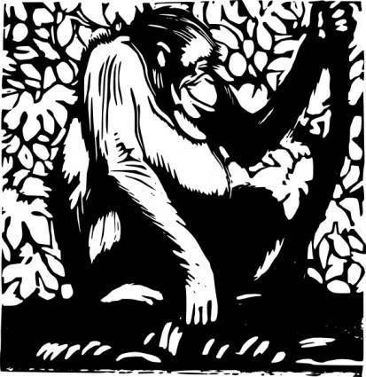 free vector Orangutan Wood Cut clip art