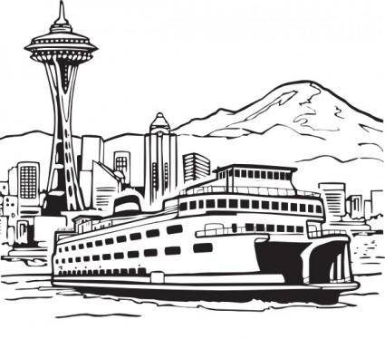 Space Needle And Ferry clip art