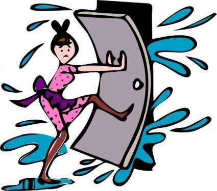 Girl Close Door clip art