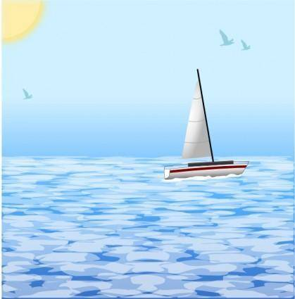 Sea Scene With Boat clip art