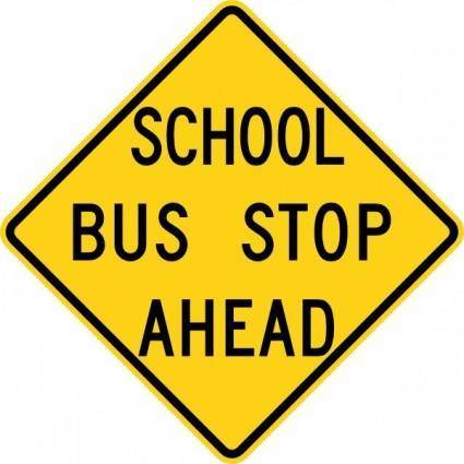 free vector School Bus Stop Ahead Sign clip art