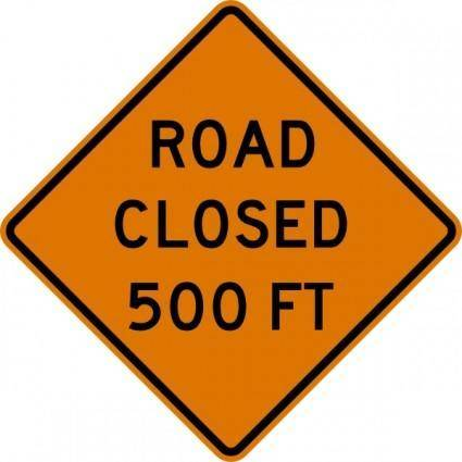 Road Closed Feet Sign clip art