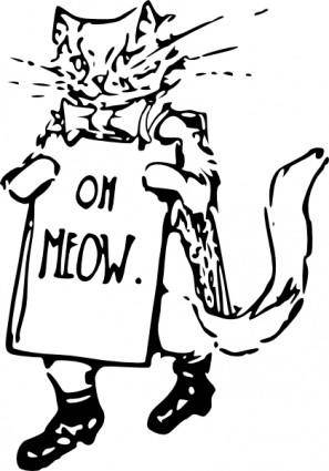 free vector Kitten Holding A Sign clip art