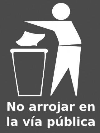 Spanish Trash Bin Sign clip art
