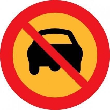 free vector No Cars Sign clip art