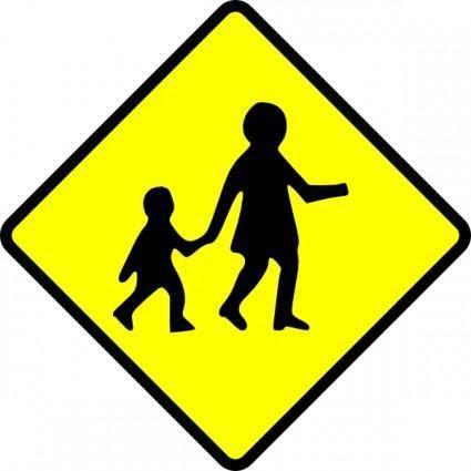 free vector Children Crossing Caution clip art