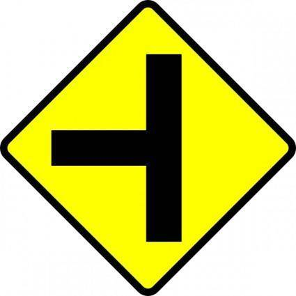 Caution T Junction Road Sign clip art