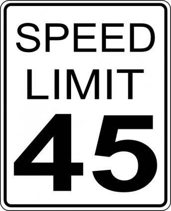45mph Speed Limit Road Sign clip art