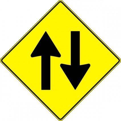 Paulprogrammer Yellow Road Sign Two Way Traffic clip art