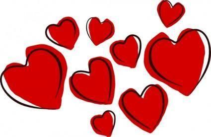 free vector Sketchy Hearts clip art