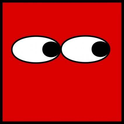 Red Square Eyes Looking Right clip art