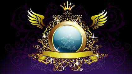 free vector Gold Decoration Shield