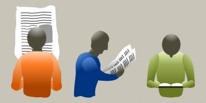 free vector People Reading clip art