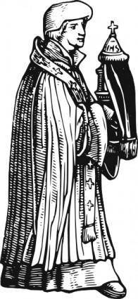 Medieval Priest With Sacrament clip art