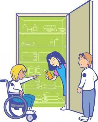 free vector Kids In Cupboard clip art