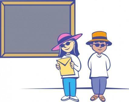 Kids In Front Of A Blackboard clip art