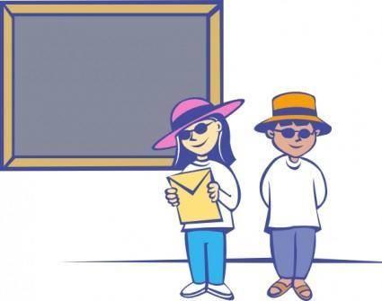 Kids In Front Of A Blackboard clip art