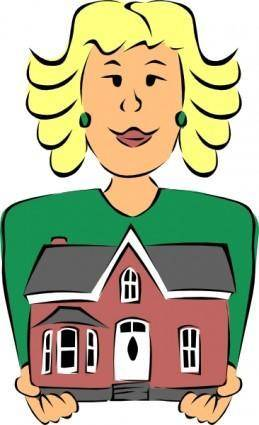 free vector Real Estate Agent Holding House clip art