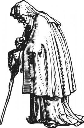 Robed Old Woman clip art 103899