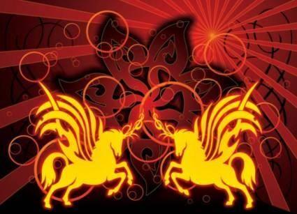 free vector Tribal Unicorns Tattoo