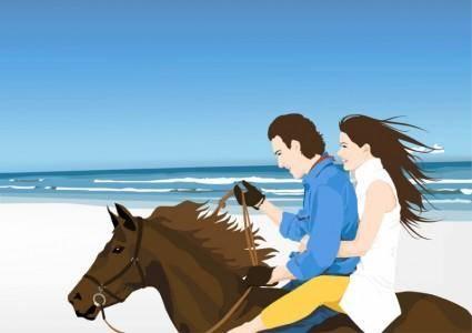 free vector Horse Riders on Beach