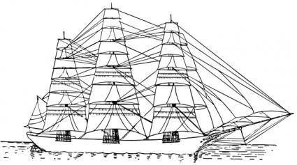Fully Rigged Ship clip art