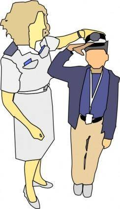 free vector Teaching How To Salute clip art