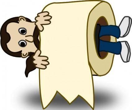 free vector Man Toilet Paper Roll clip art
