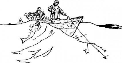 free vector Trawling From A Boat clip art