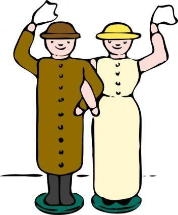Man Woman Wooden Dolls clip art