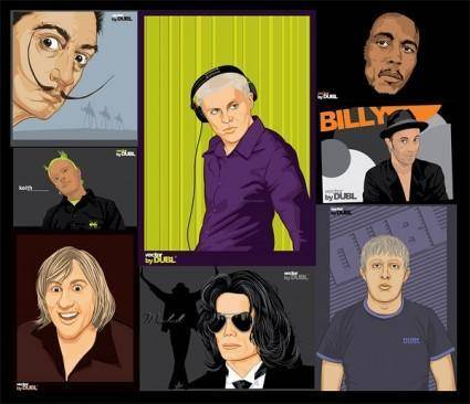 free vector Portraits paintings vector