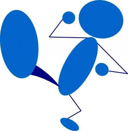 Blueman Kicking clip art