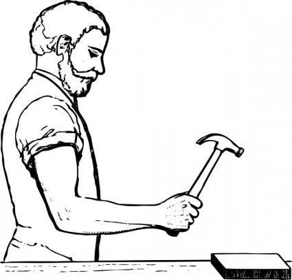 free vector Worker Hammering clip art