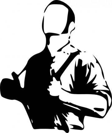 free vector Man Wearing Hangers clip art