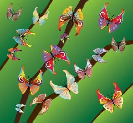 free vector Beautiful Butterflies