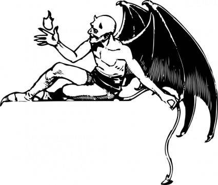 Reclining Devil clip art