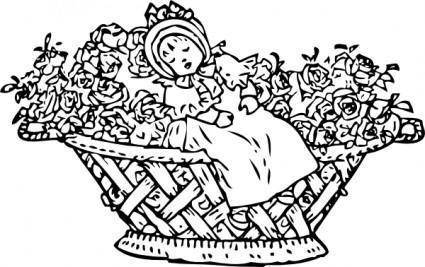free vector Baby In Rose Basket clip art