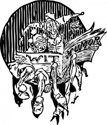 free vector Clowns Reading Newspaper clip art