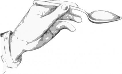 Hand Holding A Spoon clip art
