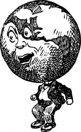 Globe Man clip art