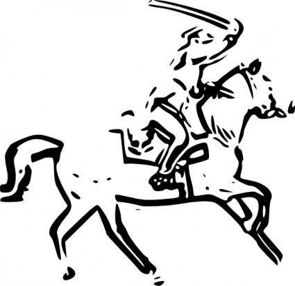 free vector Warrior Horse Sword clip art