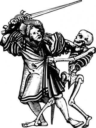 Man Fighting Death clip art