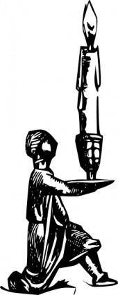 Antique Statue Candel Holder clip art