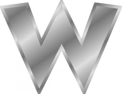 Effect Letters W Alphabet Silver clip art