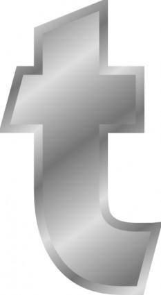 Effect Letters Alphabet T Silver clip art