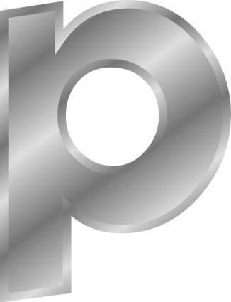 Effect Letters Alphabet Silver P clip art
