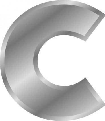 Effect Letters Alphabet Silver C clip art