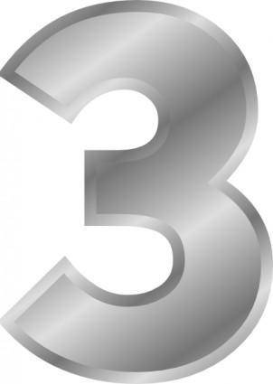 free vector Effect Letters Number 3 Silver clip art