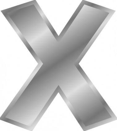 Effect Letters Alphabet Silver X clip art