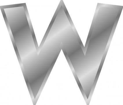 Effect Letters Alphabet Silver W clip art